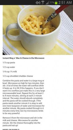 Microwave Mac and Cheese It takes care to make the pasta beautiful, which is . Easy Microwave Recipes, Baking Recipes, Mac And Cheese Microwave, Mac And Cheese Mug, Microwave Cookies, Microwave Meals, Easy Snacks, Food Cravings, Diy Food