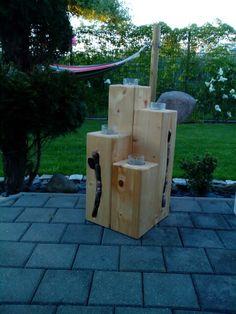 Holzbalken lasiert und dekoriert gartendeko pinterest - Deko aus alten holzbalken ...