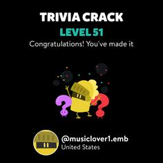 @musiclover1.emb just leveled up to Lv. 51 on Trivia Crack!
