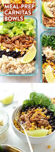 Healthy Meals Take an hour and make these delicious meal prep carnitas burrito bowls so that you can have an easy on-the-go meal ready for during the week! - Get inspired and eat well all week with these 25 Healthy Lunches For People Who Hate Salads! Clean Eating Recipes, Lunch Recipes, Mexican Food Recipes, Burrito Recipes, Recipes For Meal Prep, Baby Recipes, Easy Lunch Meal Prep, Muffin Recipes, Healthy Meal Prep Lunches