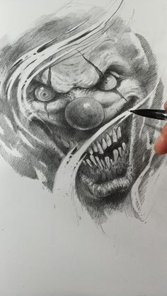clown by AndreySkull on DeviantArt Tattoo Design Drawings, Skull Tattoo Design, Tattoo Sleeve Designs, Tattoo Sketches, Jester Tattoo, Demon Tattoo, Scary Drawings, Badass Drawings, Dark Art Drawings