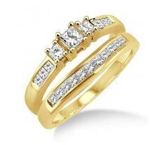 0.5 Carat Elegant Three Stone Trilogy Princess Cut Bridal set in 10k Yellow Gold