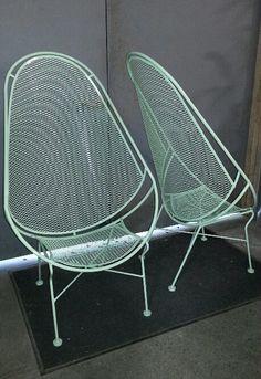 SALTERINI, Salterini High Back Chairs, 2 pc Set Salterini High Back Chairs, Salterini Wrought Iron Mesh, Mid Century Modern, New Powder Coat