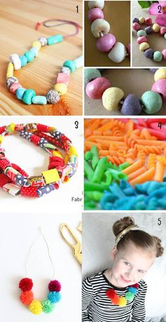 hacer collares y pulseras con niños Crochet Necklace, Necklaces For Girls, Making Bracelets, Activities For Kids, How To Make, Crafts, Crochet Collar