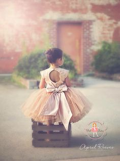 """Gold champagne blush flower girl tutu dress with big bow - """"April"""" dress in champagne glitter"""