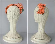 1950s Vintage Hat  50s Floral Fascinator  by CustardHeartVintage