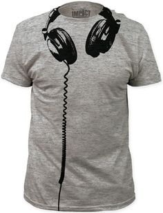 Our grey tshirt features a drawing of DJ style headphones hanging underneath the neck with the cord running down the shirt. The perfect addition to the music lover and/or DJ's wardrobe, this men's tee