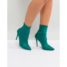 ALDO Cirelle Pull On Sock Boot in Emerald Green (505 PEN) ❤ liked on Polyvore featuring shoes, boots, green, pull on leather boots, pointy-toe boots, leather boots, pull on boots and green high heel boots