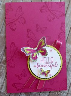 Berry Burst and Lemon Lime Twist used with the Butterfly Gala Stamp set for a pretty card Bird Cards, Butterfly Cards, Some Cards, Handmade Birthday Cards, Pretty Cards, Lemon Lime, Homemade Cards, Stampin Up Cards, Making Ideas