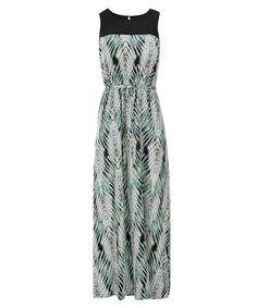 Illusion Neck Challis Maxi Dress, Mint Print #loverickis #capsulewardrobe #winter #winterfashion #winter2017 #rickis #rickisfashion #sandybeach #resort #vacation #getaway #getawaystyle