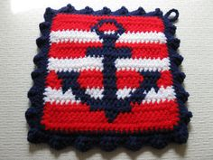 Crochet Anchor Pot Holders. Nautical stripes anchor by hooknsaw