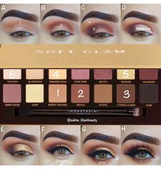 ✨A new step by step pictorial using the ABH SOFT GLAM palette✨ EOTD deets … ✨A new step by step pictorial using the ABH SOFT GLAM palette✨ EOTD deets ✨ Anastasia Beverlyhills dipbrow pomade in dark brown & soft glam… - Das schönste Make-up Eye Makeup Glitter, Glam Makeup, Skin Makeup, Eyeshadow Makeup, Makeup Box, Brown Makeup, Purple Eyeshadow, Dark Makeup, Airbrush Makeup