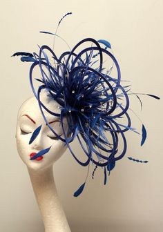 Large Royal Blue Diamante Feather Fascinator Hat - wedding, ladies day - choose any colour feathers & satin Fascinator Headband, Headpiece, Royal Blue Fascinator, Bronze Tan, Derby Dress, Metal Headbands, Purple Sky, Love Hat, Cool Hats