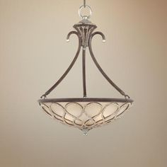 "This ornate pendant chandelier (the Tuscan Elegance Collection) captures the style of Italy's countryside. The curling frame comes in a rich century bronze finish. Beautiful antique etched glass creates a warm light. Cut bead detailing adds extra drama. A perfect choice for elegant, traditional rooms. Takes three 60 watt bulbs. 21""W x 28 1/2"" H. Canopy is 6"" wide. Hang wt is 25 lbs. Lampsplus.com - Tuscan Elegance Collection 21"" W Pendant Lamp. Style #P0339"