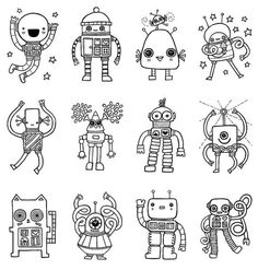 robot storytime robots to color from etsy: