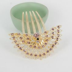 Wholesales Golden Color Alloy Hair Comb Made Of Fulll A Grade Rhinestons