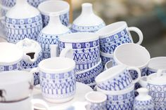 slavica | modranska - collection of cups, plates and more - slovak, ornaments, blue, traditional design, folk