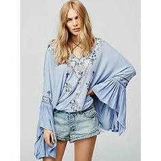 Women's Casual/Daily Sexy Summer Blouse,Embroidered V Neck Long Sleeve Blue Cotton / Linen Thin - EUR € 17.63