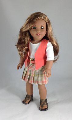 18T Sweet & Sassy - Top, Skirt, Vest, Belt and Sandals for American Girl Dolls…