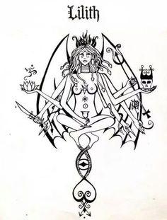 ✵ ~The Dark Goddess Lilith ~ ✵ 16 Tattoo, Demon Tattoo, Witch Tattoo, Lilith Symbol, Lilith Sigil, Goddess Symbols, Goddess Art, Lillith Goddess, Witch Spell Book