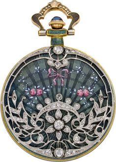 Sapphire, diamond, enamel, silver and gold pocketwatch, circa 1910, Swiss.