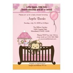 Adorable baby shower invitation in pink & brown shades with a cute monkey. Perfect for a baby girl!