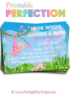 Baby Shower Invitation - Pink - Look Whos Having a Baby - Light Skin