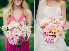 Summer bridal bouquet. Bridesmaid bouquet. Pink and peach. Peony, garden roses, sweet pea, astilbe. Modern Day Floral and Events. K Holly Photography.