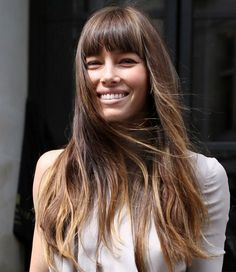 Jessica Biel Long Hairstyle: Straight Haircut with Thick Bangs