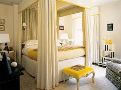 Luxe canopy bed, touches of yellow | Veere Greeney