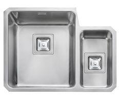 Rangemaster Atlantic Quad Bowl Brushed Stainless Steel Undermount Sink & Waste Kit with Left Hand Small Bowl - 580 x Undermount Stainless Steel Sink, Undermount Sink, Stainless Steel Kitchen, Brushed Stainless Steel, Quad, Minimalist Kitchen Interiors, Steel Gauge, Sink Taps, Bowl Sink