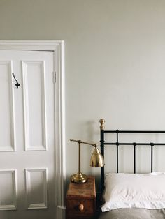 Our bedroom. Walls in Cromarty, by Farrow and Ball. Barometer lamp from Ikea. Farrow And Ball Living Room, Farrow And Ball Paint, Home Living Room, Bedroom Wall Colors, Bedroom Doors, Victorian Bedroom, Victorian House, Sage Green Bedroom, Kitchen Wall Colors