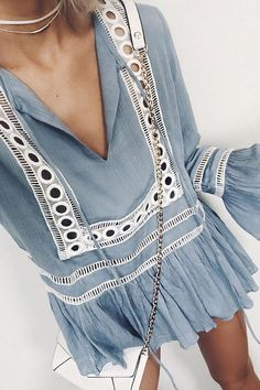 Try light blue and eyelets on your vacation escape. The color will look great against your tan skin. Let DailyDressMe help you find the perfect outfit for whatever the weather!