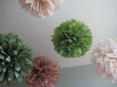 Pretty pom-poms for wedding decor