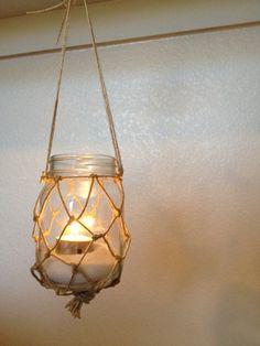 Hanging Mason Jar Lantern or Flower Vase Set of 3 // Wedding Decor // Nautical Decor on Etsy, $12.00