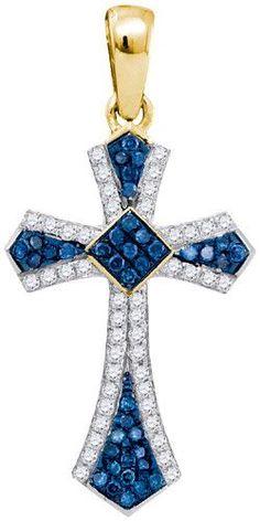 1/4CTW-Diamond MICRO-PAVE BLUE PENDANT