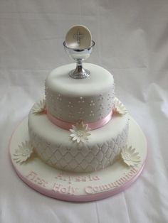 two tier holy communion cake