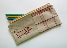 Sausage dog pencil case or zipper pouch. hand embroidery in red with gingham fabric [edwardandlilly]