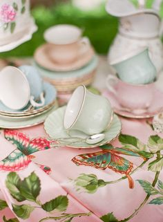 Tea:  Pastel teacups and saucers in different shades make for a lovely tea table.