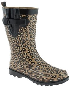 Capelli New York Leopard Printed with Buckle Ladies Short Sporty Body Rain Boot Natural Combo 8 ** Learn more by visiting the image link.