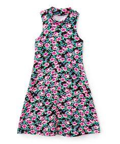 Black & Mint Floral Mock Neck Dress - Toddler & Girls