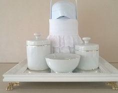 Kit higiene porcelana filete ouro