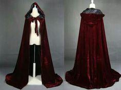 Burgundy hooded cloak
