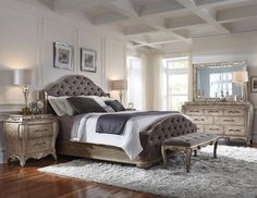 Elegant and sumptuous, the Rhianna bedroom collection by Pulaski Furniture envelops you in total luxury. The aged silver patina finish enhances sinuously curved shapes and French influenced decorative motifs. King Size Bedroom Sets, King Size Bed Frame, Queen Bedroom, Master Bedroom, Master Suite, Comfy Bedroom, Queen Beds, Girls Bedroom, Master Bath