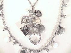 Heart Necklace Vintage Charms Silver by SongSparrowTreasures, $35.00