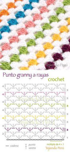 Learn how to crochet granny stripes Granny Stripes, Granny Stripe Crochet, Point Granny Au Crochet, Crochet Squares, Granny Stripe Blanket, Square Blanket, Crochet Simple, Crochet Diy, Manta Crochet