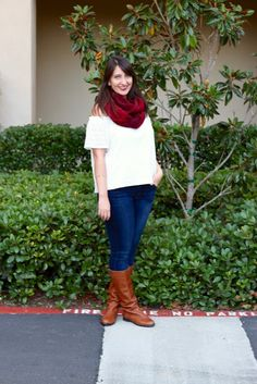 Burgundy Plaid Infinity Scarf + White Lace Off-the-Shoulder Top + Skinny Jeans + Riding Boots #fall #giveaway #outfit