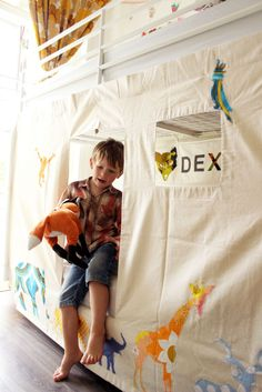 Bunk Bed Tent - Animals design by moozlehome on Etsy https://www.etsy.com/listing/204347969/bunk-bed-tent-animals-design