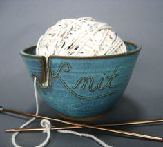 Knitting Yarn Bowl Green (As Featured in Vogue Knitting) Handmade Pottery MADE TO ORDER
