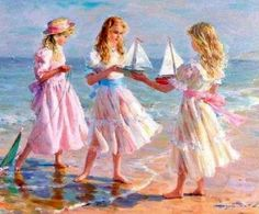 Konstantin Razumov (1974, Russian)  Young Girls At The Beach With Model Sailboats